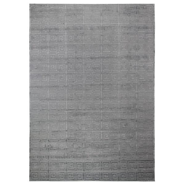 Exquisite Rugs Greek Key Aqua New Zealand Wool/Bamboo Silk Rug (8' x 10')