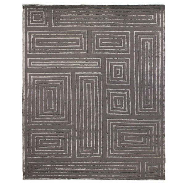 Exquisite Rugs Metro Velvet Dark Gray New Zealand Wool/Viscose Rug (10' x 14')