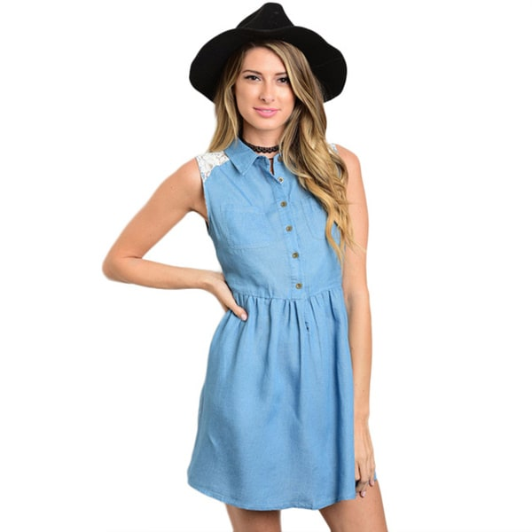 Shop The Trends Women's Sleeveless Chambray Denim Dress with Lace Back and Button-down Bodice