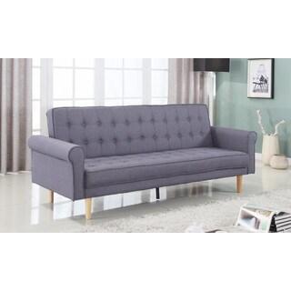 Mid-Century Modern Vintage Style Linen Sleeper Futon Sofa