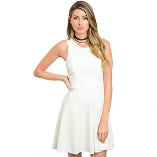 Shop the Trends Women's Sleeveless A-line Dress With Round Neckline and Back Zipper Closure