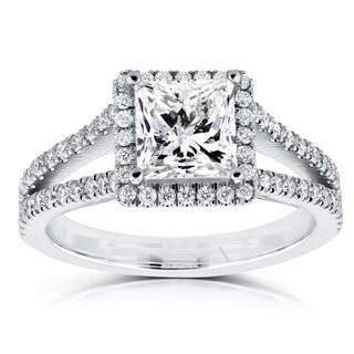 Annello 14k White Gold Certified 2 1/4ct TDW Princess Diamond Halo Long Split Shank Ring (I, I1)