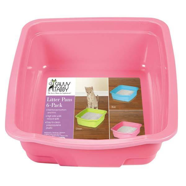 Savvy Assorted Color Tabby Litter Pans (Pack of 6)