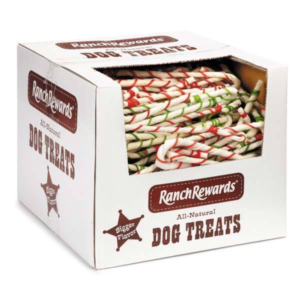 Ranch Rewards 8-inch Rawhide Candy Cane (Case of 250)