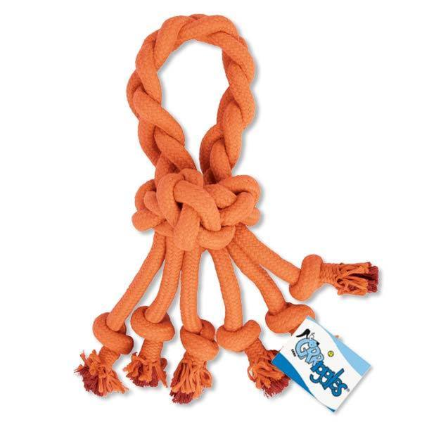 Grriggles Ruff Rope Loops Orange Dog Toy