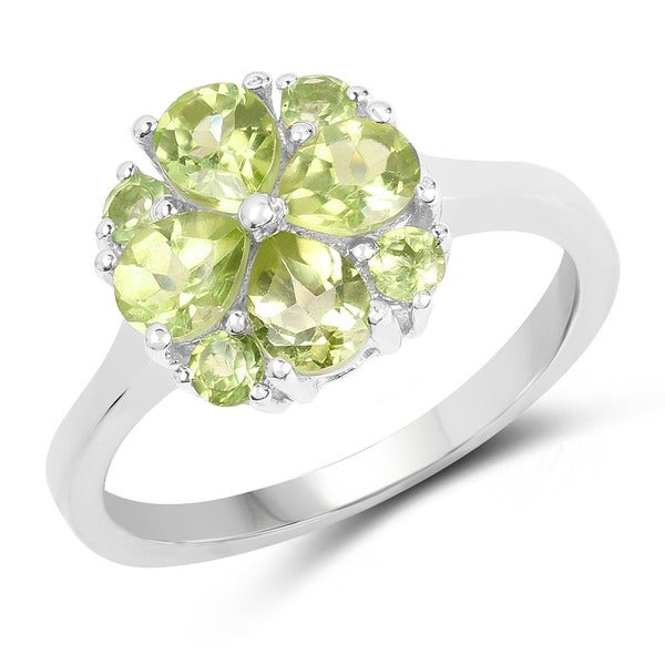 Malaika 0.925 Sterling Silver 1.48-carat Genuine Peridot Ring 19368797
