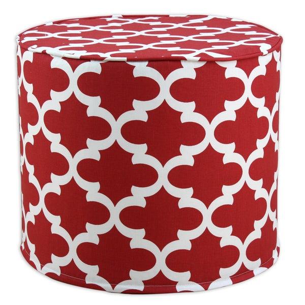 Fynn Timberwolf Macon Geometric Pattern 20-inch Round Corded Foam Ottoman