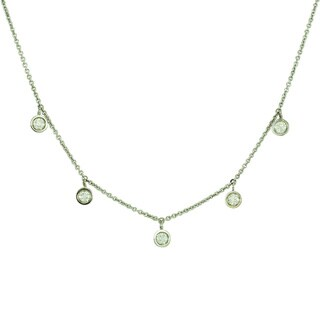 """14k Gold """"Drop by the Yard"""" 7 Round Diamond Necklace"""