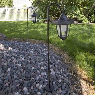 Pure Garden Solar LED Black Hanging Coach Lanterns (Set of 2)