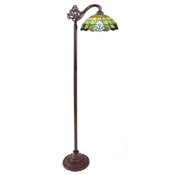 Vivaldi Blue/Green Stained Glass Side Arm Floor Lamp