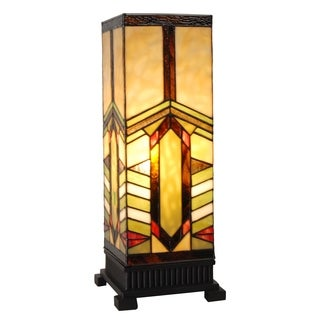 River of Goods Bronze Resin Stained Glass 17.25-inch Mission Style Stone Mountain Pillar Accent Table Lamp