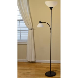 Light Accents 150-watt Black Finish Torchiere with White Plastic Shade and Side Reading Light Floor Lamp