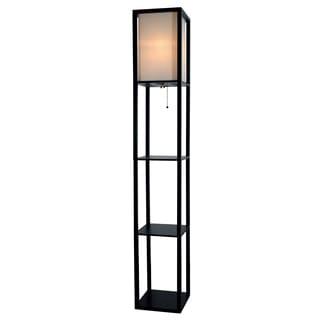 Light Accents Black Wood 3-shelf Floor Lamp With Beige Linen Shade