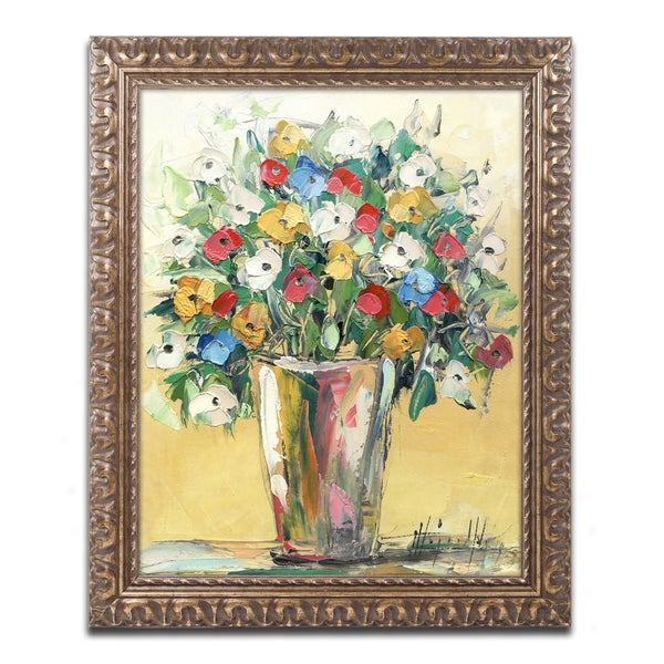 Hai Odelia 'Spring Flowers in a Vase 9' Ornate Framed Art