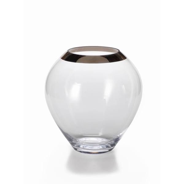 Large Foral Vase with Platinum Rim