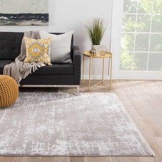 Modern Vintage Look Pattern Grey/ Silver Wool and Viscose Area Rug (9' x 12')