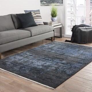 Modern Vintage Look Pattern Black/ Blue Wool and Viscose Area Rug (9' x 12')