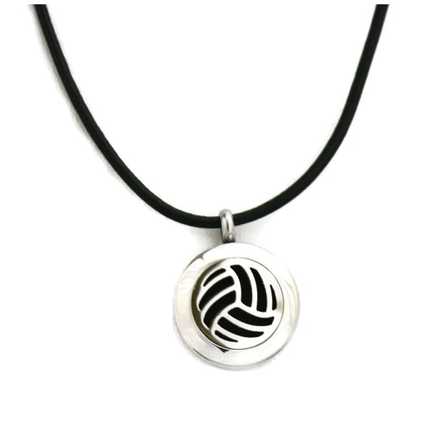 Volleyball Stainless Steel Essential Oil Diffuser Black Cowhide Necklace