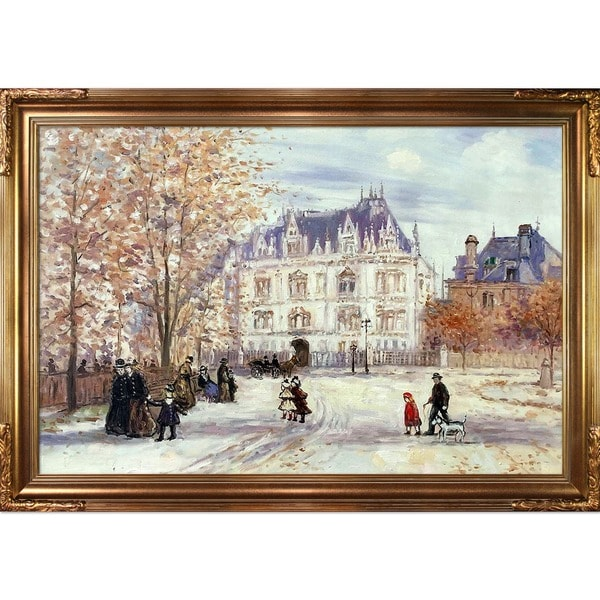 Jean Francois Raffaelli 'The Fletcher Mansion, New York City' Hand Painted Framed Canvas Art 19379917