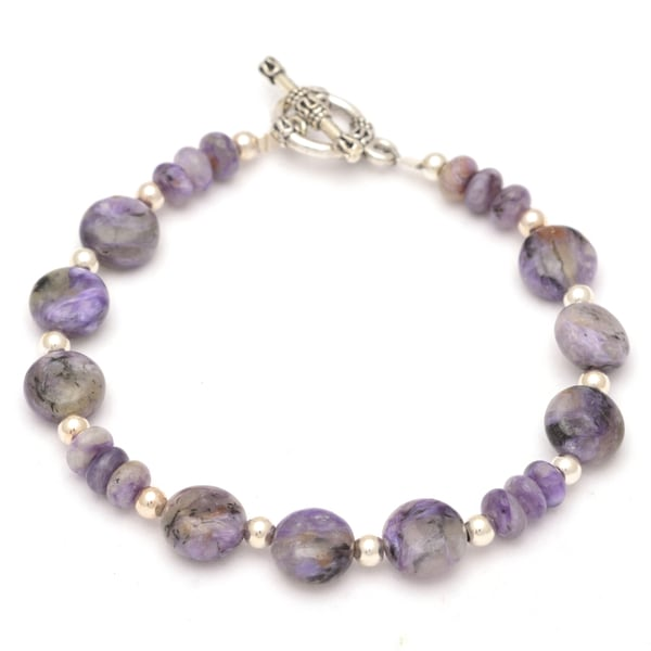 Healing Stones for You Charoite Disc Bracelet