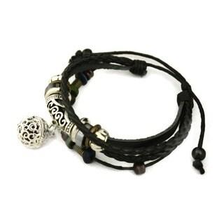 Pizzazz Black Leather Essential Oil Diffuser Bracelet
