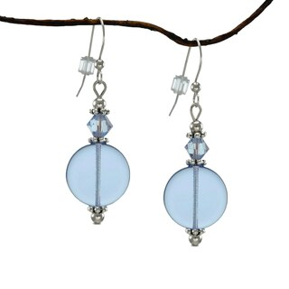 Jewelry by Dawn Sapphire Blue Glass Coin Earrings