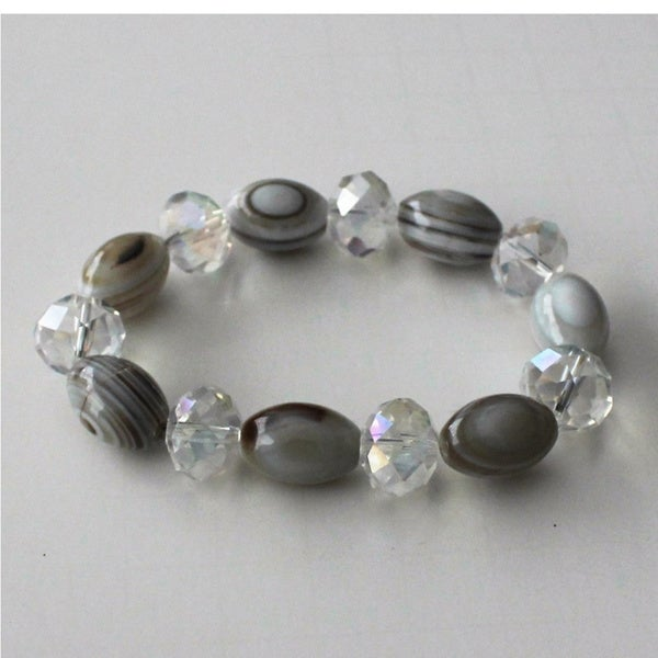 Stripped Agate Stretch Bracelet