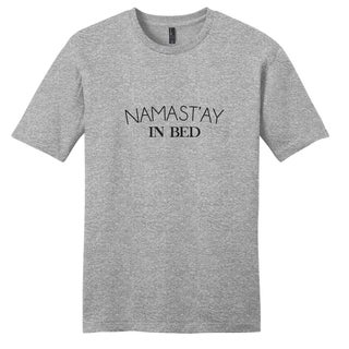 Sweetums Unisex Namast'ay in Bed Grey Cotton T-shirt