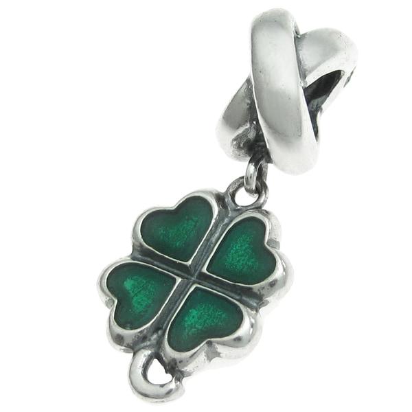Queenberry Sterling Silver Shamrock Four Leaf Clover Green Enamel Lucky Irish Dangle European Bead Charm