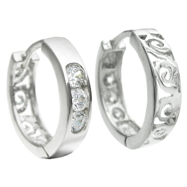 Queenberry Sterling Silver Filigree Flower Clear CZ Cubic Zirconia Ring Hoop Dangle Huggie Earrings