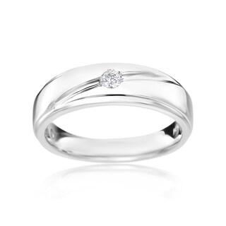 SummerRose Men's 14k White Gold 1/8-carat TDW H-I, SI2-I1 Diamond Ring