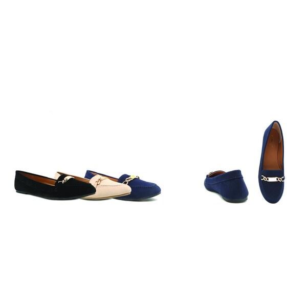 Qupid Women's Black Faux Leather, Nubuck Ballerina Loafers