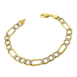 10k Gold 8-millimeter Hollow Figaro Diamond-cut Pave Two-tone Bracelet Chain