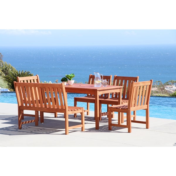 Malibu Eco-friendly 6-piece Outdoor Hardwood Dining Set with Rectangle Table, Bench and Armless Chairs