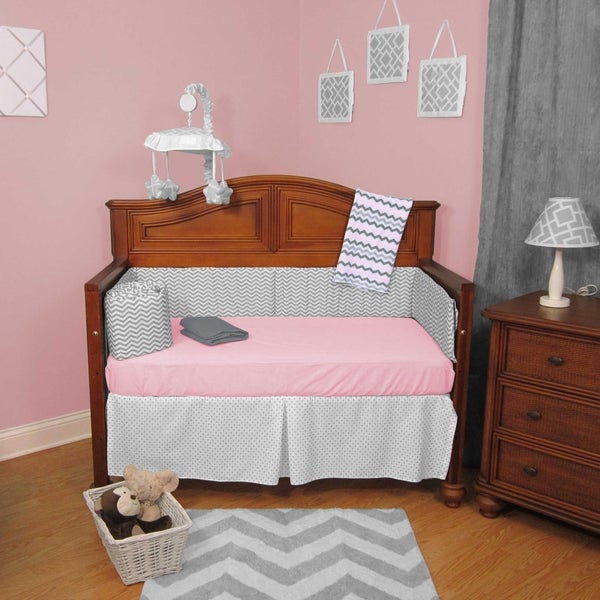 Chevron Zig Zag Pink and Grey with Dots 6-piece Baby Crib Bedding Set with Bumper
