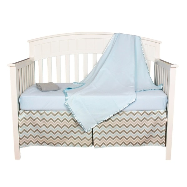 Blue/Grey Cotton Zig-zag Chevron 5-piece Baby Boy Crib Bedding Set