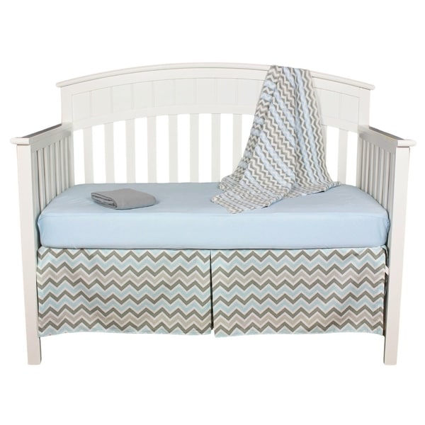 Grey and Blue Chevron Zigzag 5-piece Baby Boy Crib Bedding