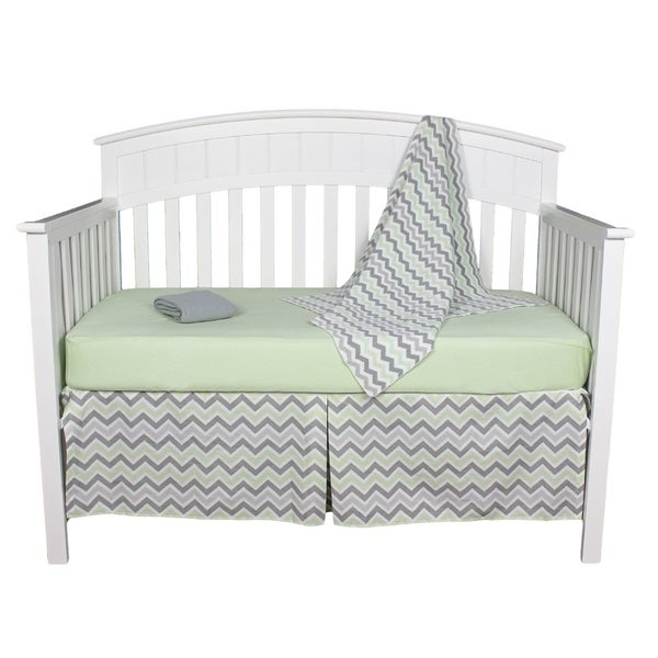 Gray and Green Chevron 5-piece Unisex Neutral Baby Bedding