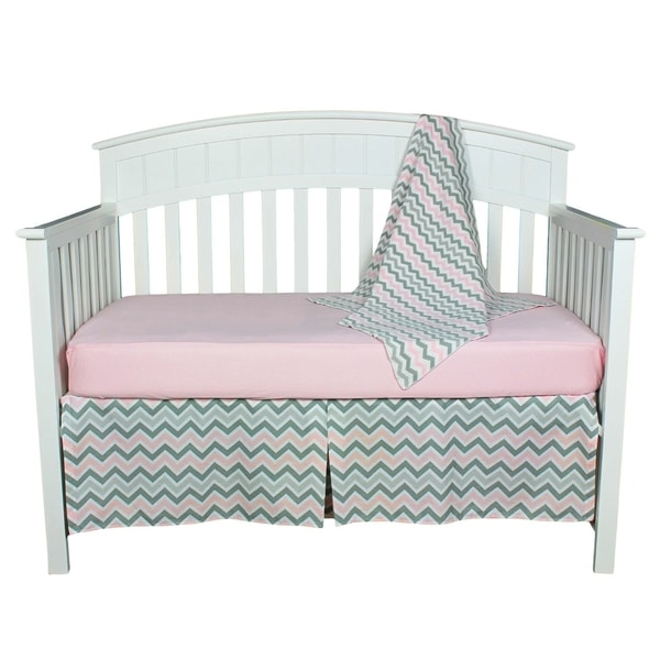 Pink and Grey Chevron Zig Zag Baby Bedding Set with Sweater Blanket