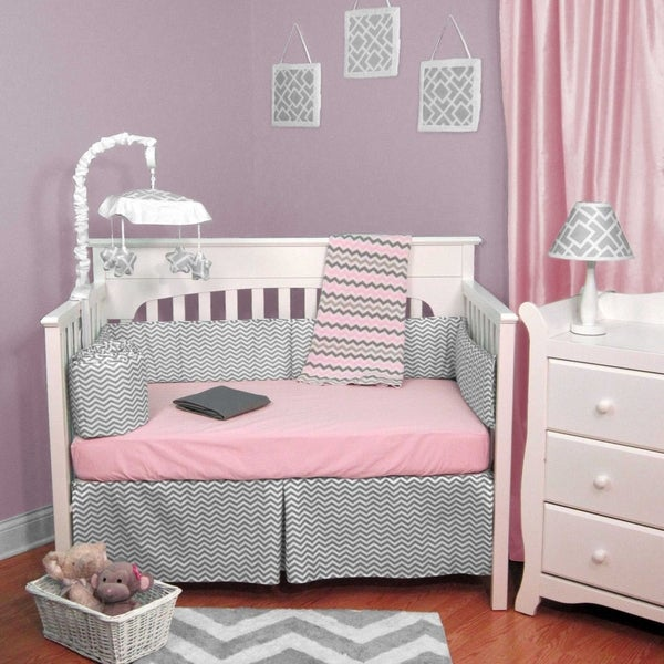 Zig Zag Pink and Gray Chevron 6-piece Baby Crib Bedding Set With Bumper