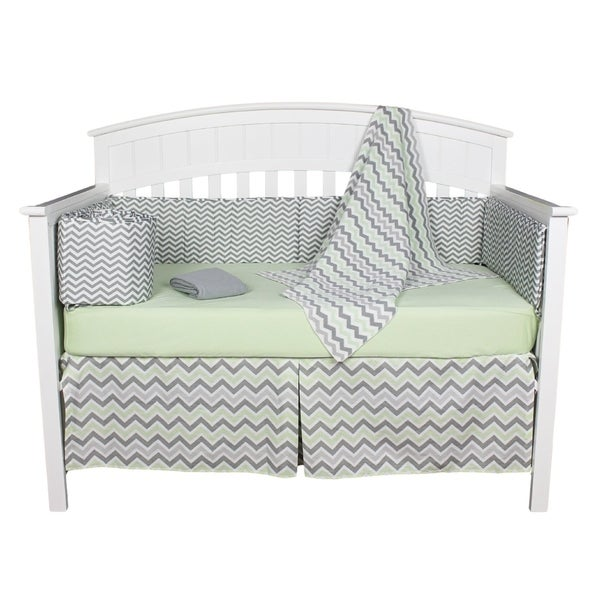 Chevron Zig Zag Green and Grey Neutral 6-piece Unisex Baby Bedding With Bumper