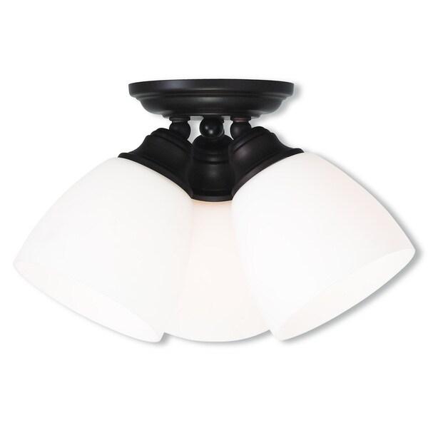 Livex Lighting Somerville Satin Opal 3-light Ceiling-mount Fixture