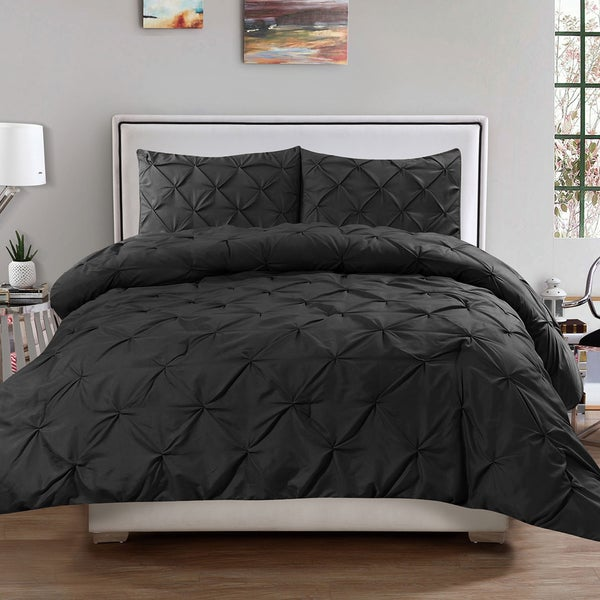 Black Pintuck Pinch Pleated 3-piece Comforter Set