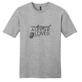 Sweetums Unisex 'She Designed a Life She Loved' Grey Cotton Motivational T-shirt