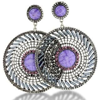 Silver Tone 3 1/2 Inch Purple Bead Medallion Drop Earrings