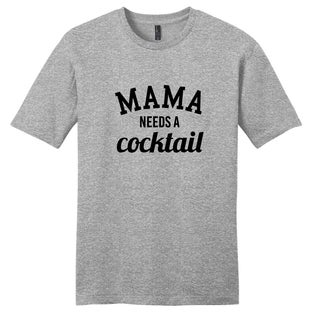 Sweetums Unisex Grey Cotton 'Mama Needs a Cocktail' T-shirt