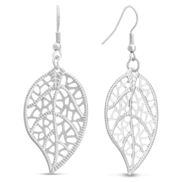 Antique Style Silver Leaf Earrings