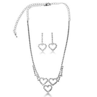Triple Heart Rhinestone Necklace and Dangle Earring Bridal Ensemble, With Free Interlocking Heart Bracelet
