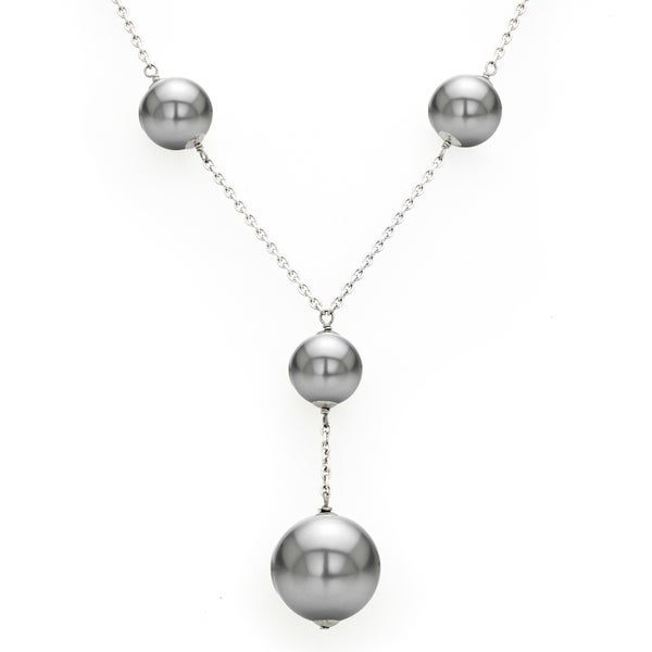 DaVonna Sterling Silver 14mm and 20mm Grey Shell Pearls Chain Necklace