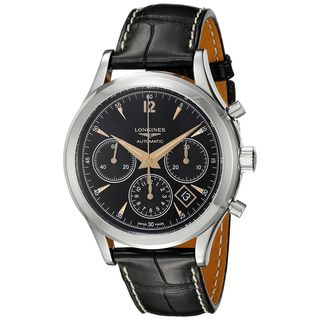 Longines Men's L27504560 'Flagship Heritage' Chronograph Automatic Black Leather Watch